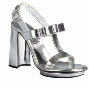 Authentic Prada Silver Metallic T-strap Sandal
